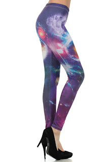 blue galaxy print leggings