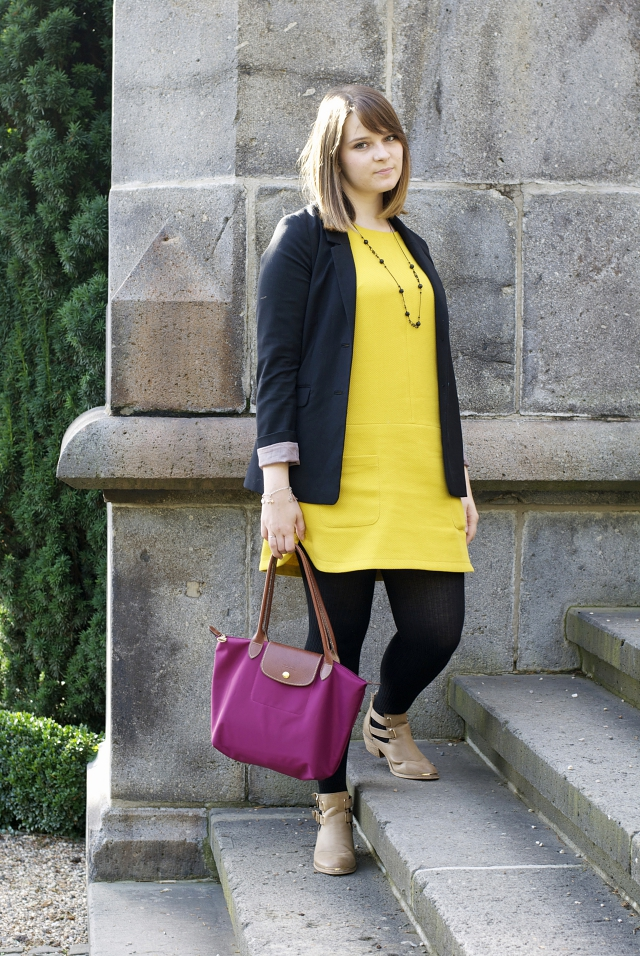 ootd yellow dress fall color blocking
