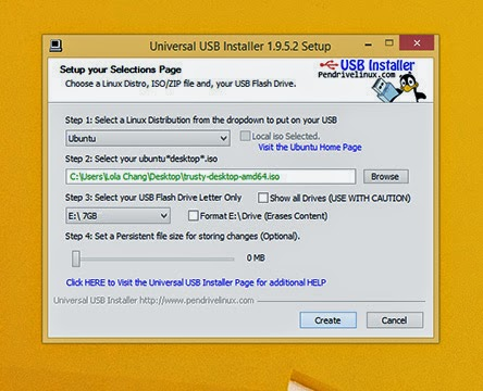 3 .Choose the USB drive and click 'Create' :