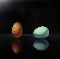 original realistic painting of eggs, realism still life, jeanne vadeboncoeur