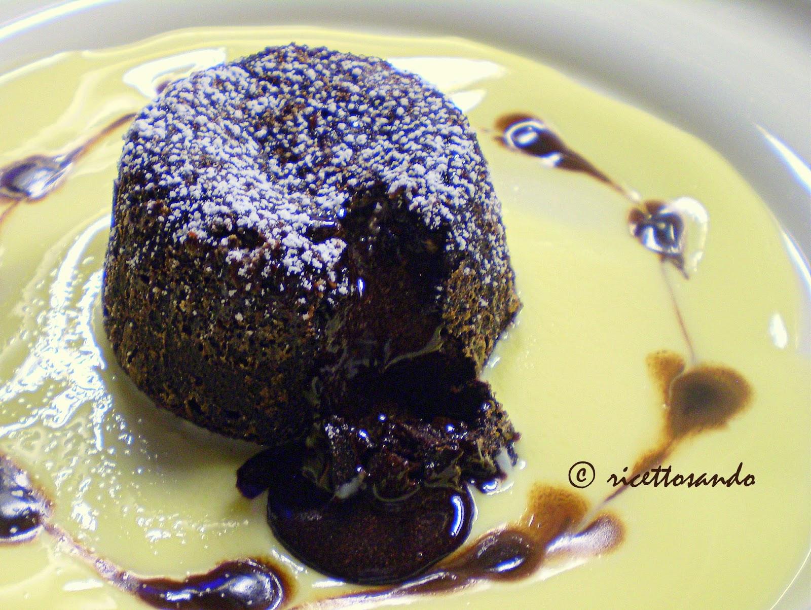 Tortino di cioccolato con cuore fondente ricetta  di dessert dolce