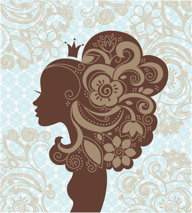 お洒落に人型を模った植物柄背景 beautiful shading pattern イラスト素材