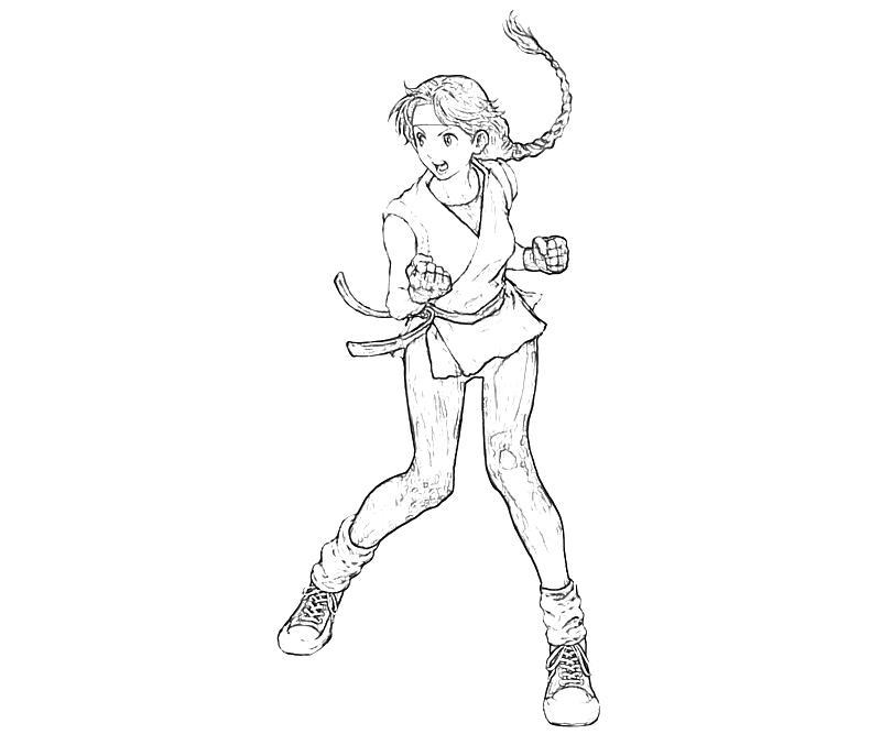 printable-king-of-fighters-yuri-sakazaki-strength-coloring-pages