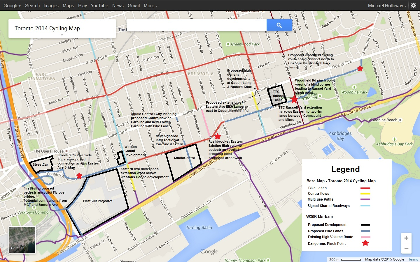 Ward 30 Bikes : Eastern Avenue Don River to Queen-Kingston ...