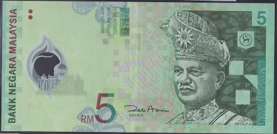 Malaysia 5 ringgit 2004 P#  47