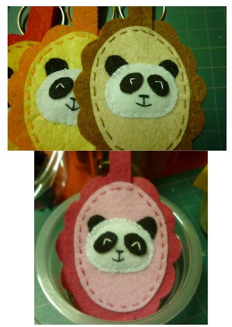 Felt panda keychains gift set