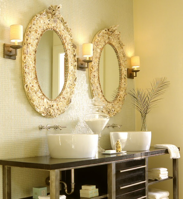 luxurious oval bathroom mirrors hanging in the exotic wall with inspiring vanity and creative wall lamps