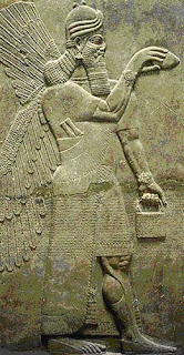 Mesopotamia, Iraq, Cradle of Civilization, Sumer bas-reliefs, ancient Sumerian God Enki holds plasma laser in hand
