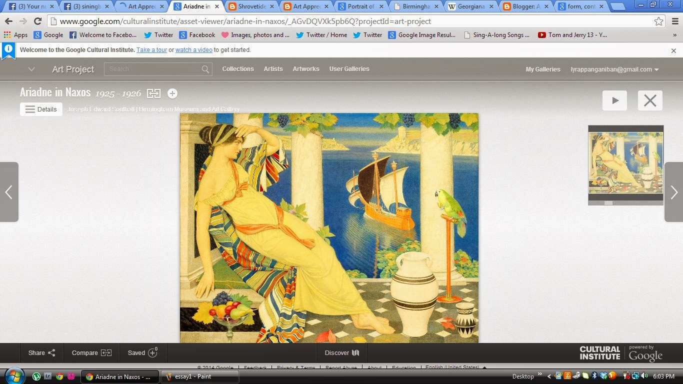 art appreciation essay ariadne in naxos by joseph among the collections of art works in google com culturalinstitute project art project i chose the art work of joesph edward southall