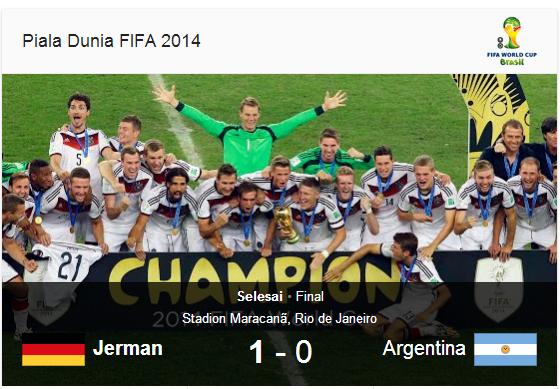 Pengaturan Skor Jerman VS Argentina Piala Dunia 2014