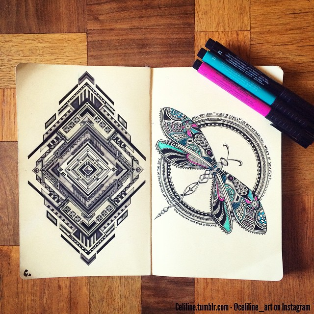 20-Celiline-Hand-Drawn-Zentangle-Doodles-Illustrations-Drawings-www-designstack-co