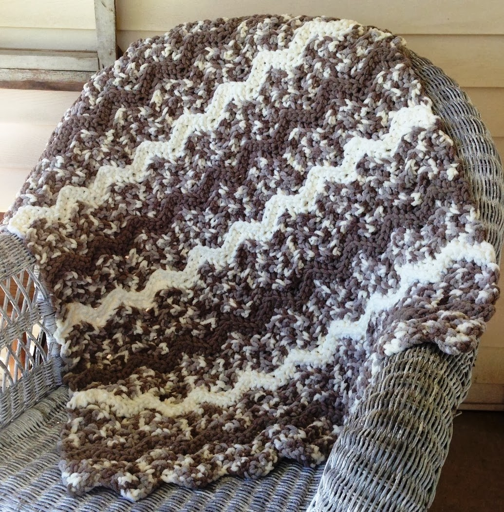 New Crochet Bernat Baby Blanket Pattern! The Kamden Ripple Blanket