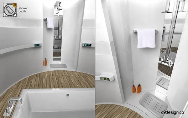 Bañera y ducha del módulo baño