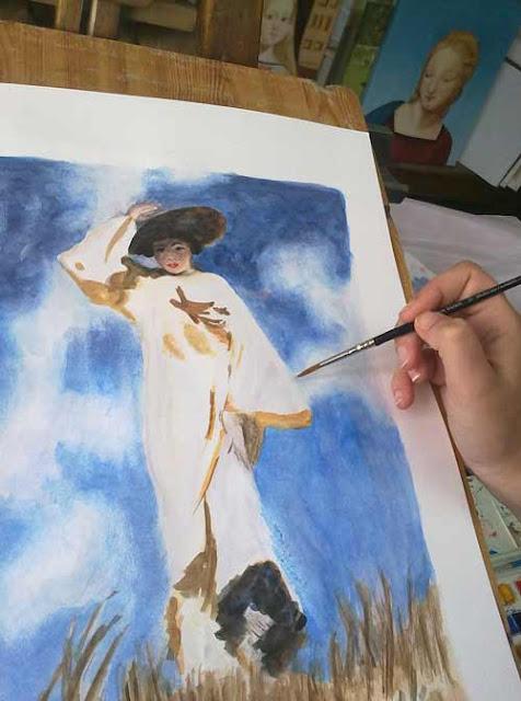 pintando en acuarela un golpe de viento