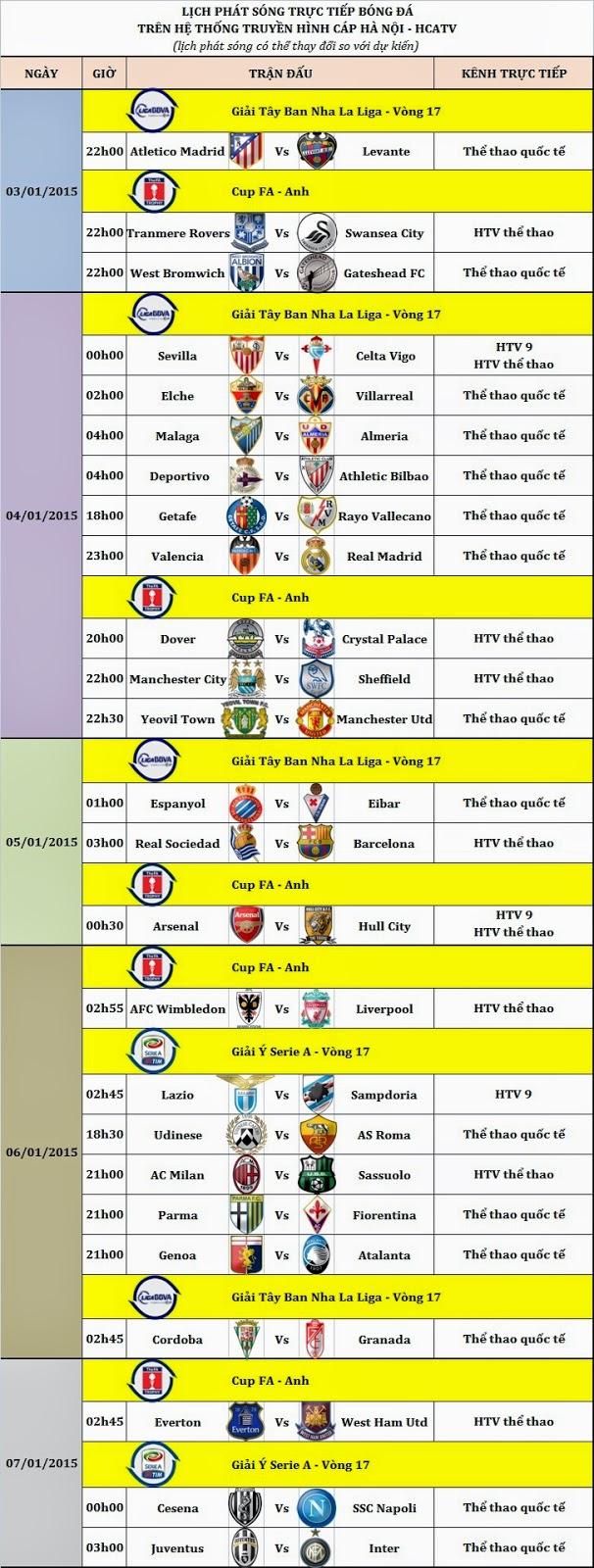 Lịch bóng đá cuối tuần trên HCATV