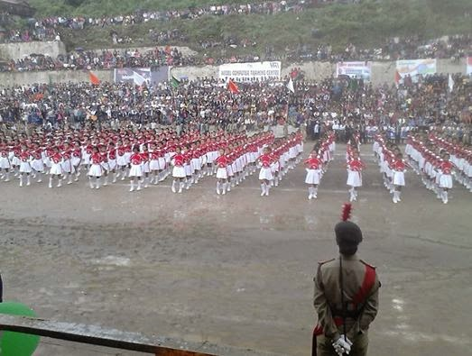 Drill by St. Joshep' s Girls H. S. School,Independence day celebration at Monteviot Ground , Kurseong