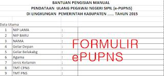 Formulir untuk pengisian e PUPNS format Excel