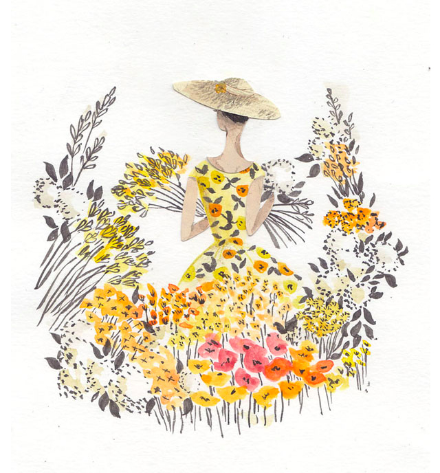 yellow flowers illustration by emma block