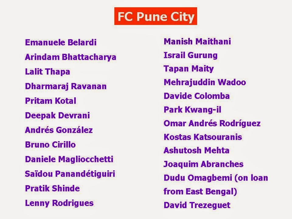 Football Indian Super League 2014 Teams & Players
