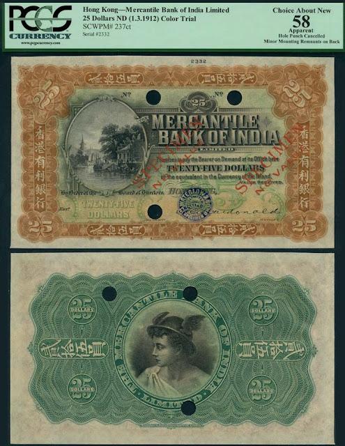 Lot 80: Mercantile Bank of India Limited, Hong Kong, colour trial $25, Hong Kong, ND (1912) [ Image courtesy of Spink ]