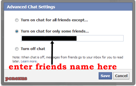 see an option turn on chat for only some friends