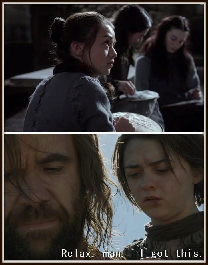 #GoTmeme Finally Sewing Came In Handy #GameOfThrones Arya and Hound meme