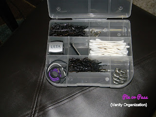 vanity organization using a craft storage box
