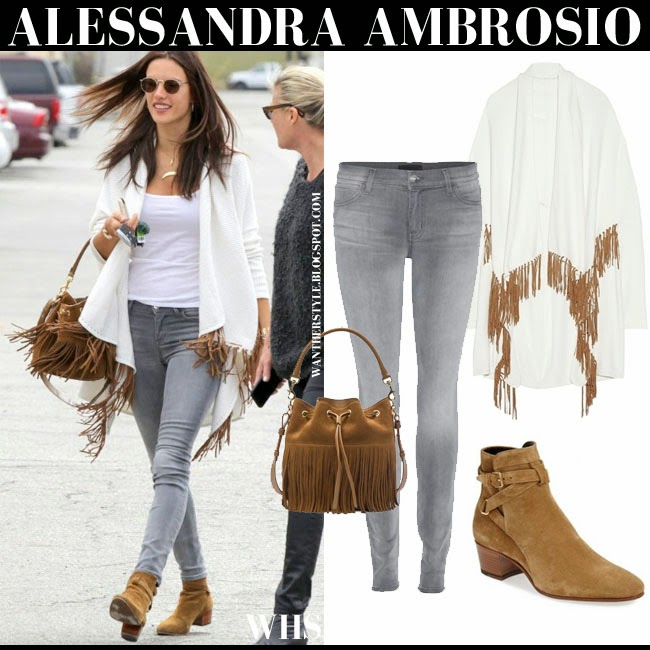 Alessandra Ambrosio in fringe Maje Mexico cardigan, grey skinny Koral jeans, suede Saint Laurent Blake ankle boots with brown fringe bucket Saint Laurent Emmanuelle bag what she wore may 14 spring style