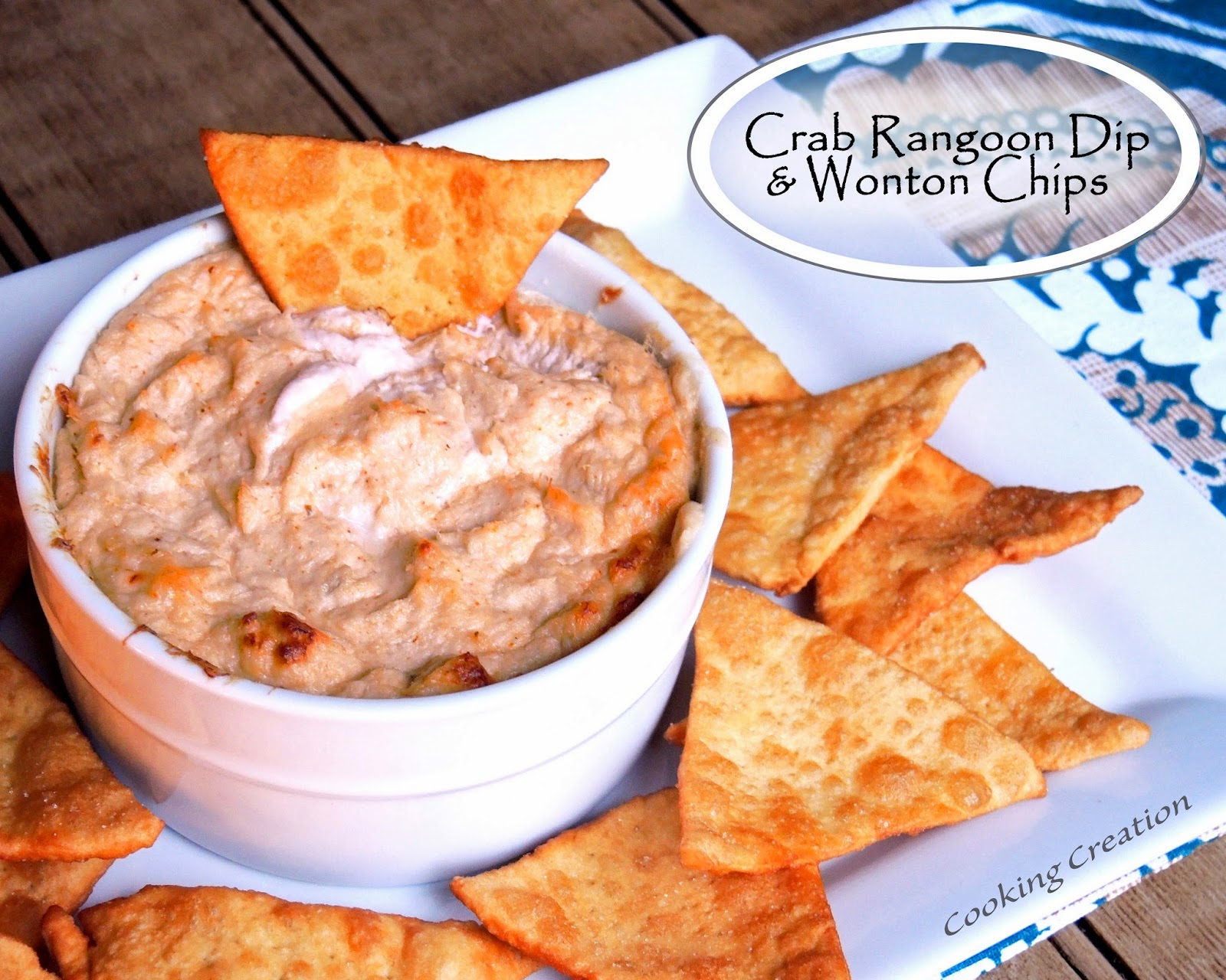 Cooking Creation: Baked Crab Rangoon Dip & Homemade Wonton Chips
