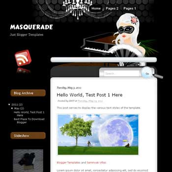 Masquerade Blogger Template. blogger template from wordpress theme. girl template blog