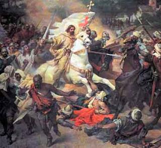 Apóstol Santiago a caballo luchando contra los infieles