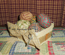 6 PRIM FABRIC WRAPPED EGGS IN BASKET
