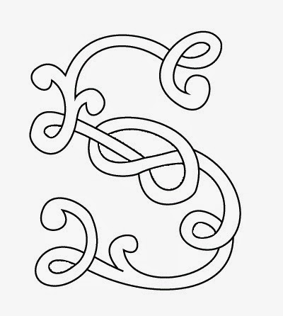 S Celtic calligraphy monogram tattoo stencil