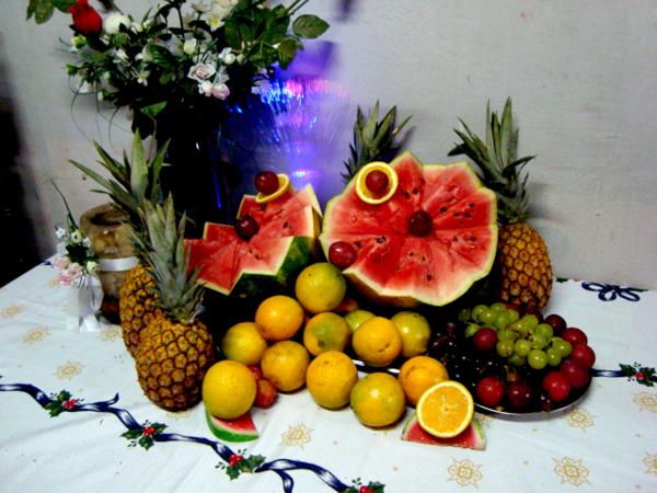 Filhas De Eva Decoraç u00e3o de Natal -> Decoração Mesa De Frutas Natal Simples