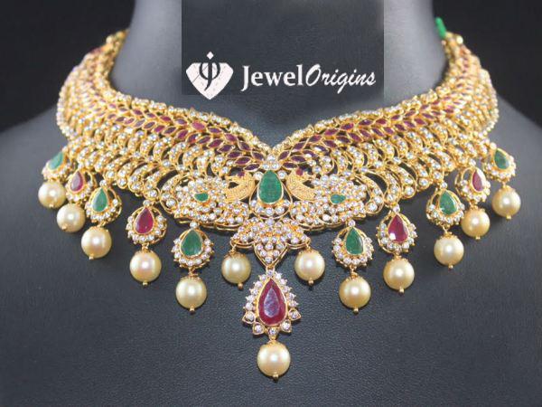 CZ Stone studded Peacock Necklace jeweloriginscomIndian Designer