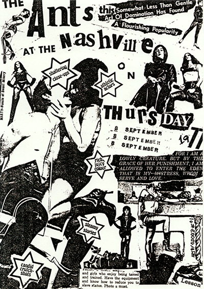 Poster announcing The Ants gig in 1977.