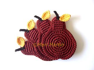 Crochet Coasters Cinnamon Pears