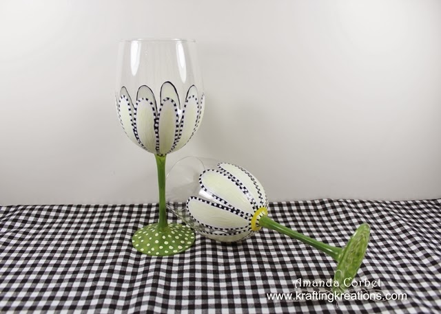 Hand Painted Daisies Wine Glasses