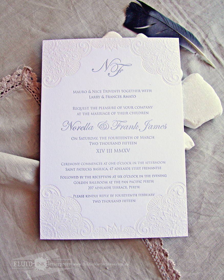 Fluid Ink Fine Letterpress of Australia: Vintage lace letterpress ...