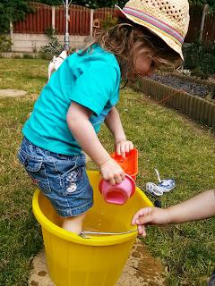 splashing in a bucket