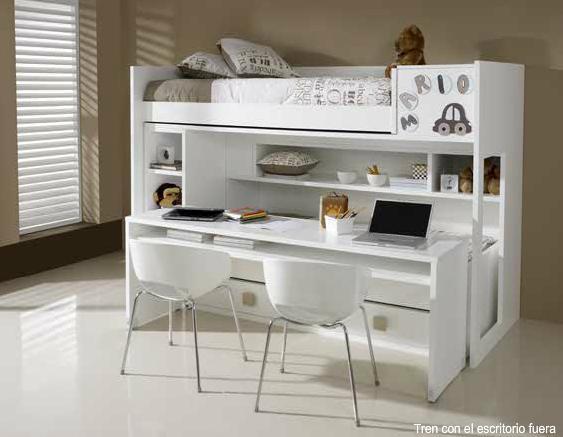Dormitorios habitaciones juveniles e infantiles lacadas - Literas juveniles con escritorio ...