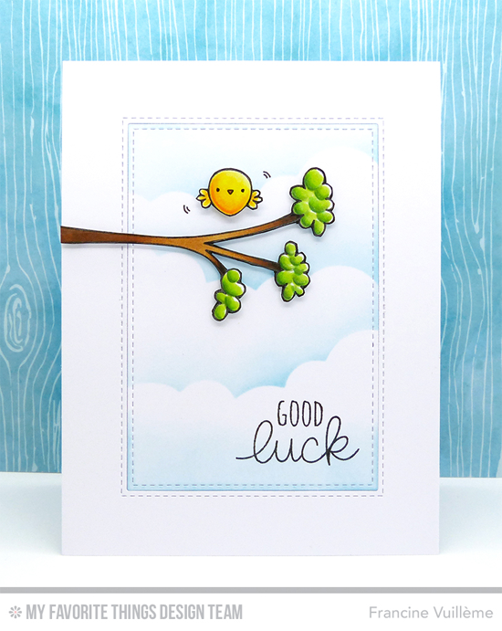 Good Luck Card by Francine Vuillème featuring the Lucky, Miss Tiina Tweet on You and Things with Wings stamp sets, and the Inside & Out Stitched Rectangle STAX and Stitched Cloud Edges Die-namics #mftstamps