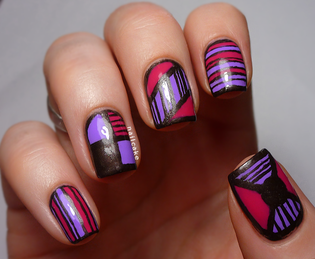 Nail art in mix & match geometric and striped designs, with Illamasqua Jo'Mina, Barry M Shocking Pink & 17 Smokey Marble