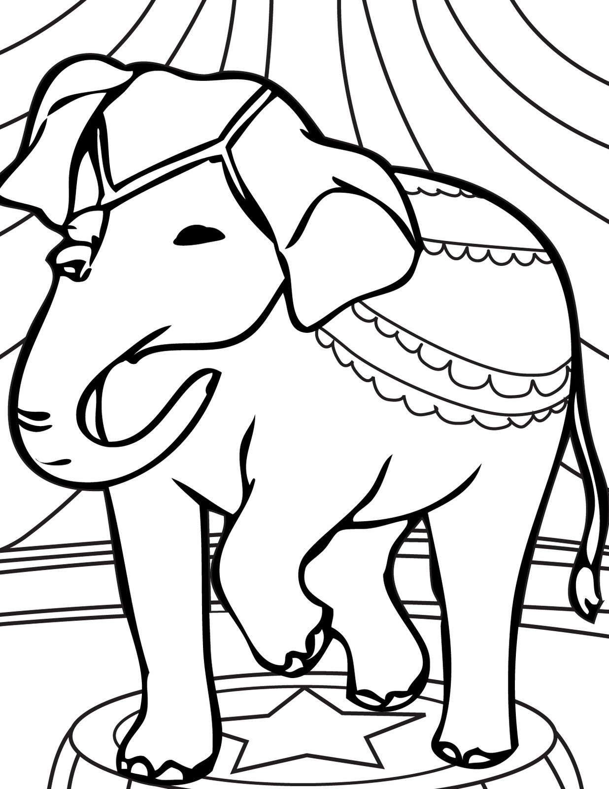 Circus Elephant Coloring Pages Ideas To Kids Circus Elephant Coloring Page