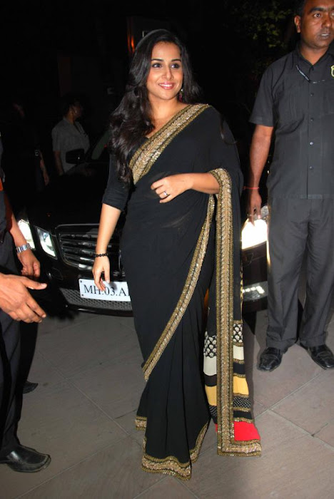 Vidya Balan in Black Saree Photos at kahaani movie success party actress pics