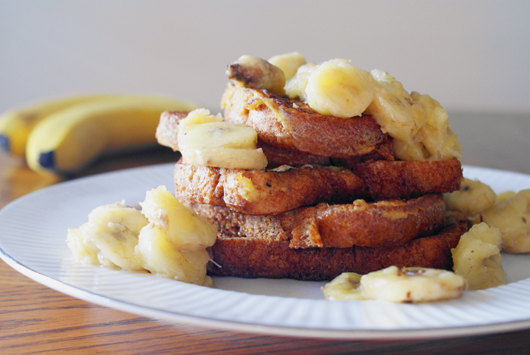 French Toast with Sweet and Salty Buttered Bananas | thetwobiteclub.com