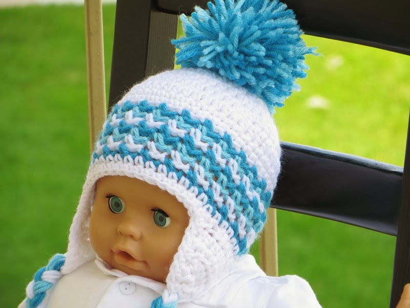 Crochet Pattern Newborn Girl Hat : Crochet Dreamz: Ear Flap Hat Crochet Pattern for Boys and ...