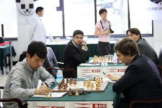 Echecs en Chine : Wang Hao (2752) s'est incliné ronde 2 avec les Noirs face au Russe Sergey Karjakin (2776)