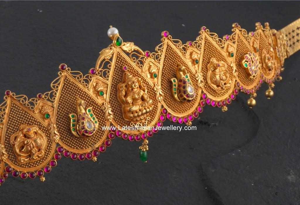 Lakshmi Peacock Design Gold Vaddanam