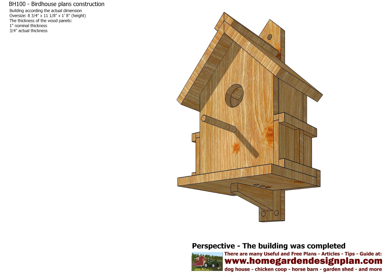 Birdhouse Blueprints Backyard Birdhouse Decorative
